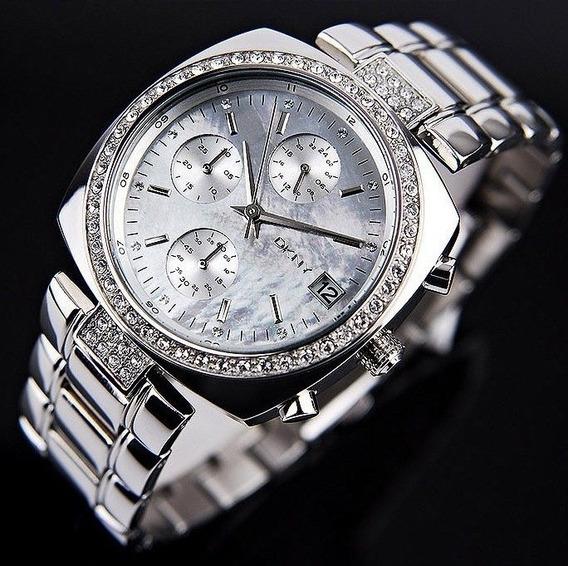Relógio Luxo Feminino Dkny Donna Karan Prateado C/nf Ny4907