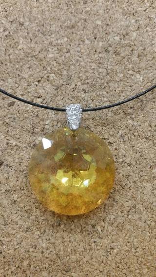 Collar Tanza . Simil Cristal. Color Amarillo.