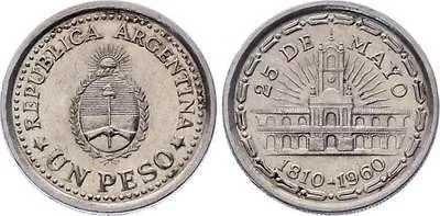 Argentina Moneda 1 Peso Conmemorativa 1810-1960