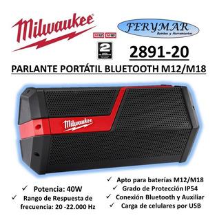 Parlante Portátil Bluetooth Milwaukee M12 M18 2891 iPhone