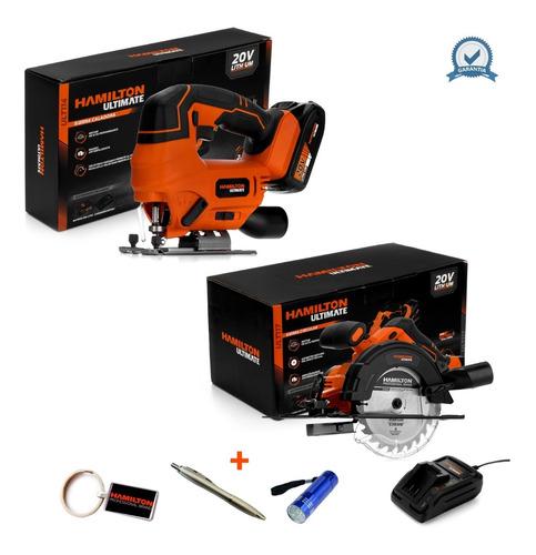 Sierras Circular + Caladora + Bateria 20v 2ah Hamilton Smart