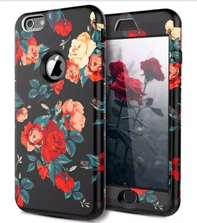 Case, Carcasa, Funda, Negra, Flores, iPhone