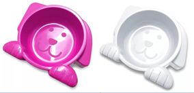 Comedouro E Bebedouro Para Cães Dog Face Rosa E Branco
