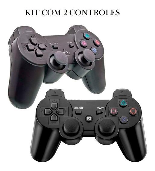 Kit Com 2 Controles Dualshock Playstation Ps3 Sem Fio
