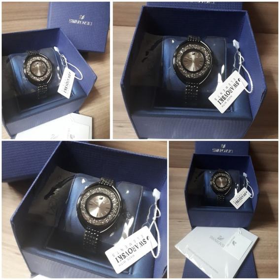 Relogio Swarovski Crystalline Oval Black E Caixa Original !!
