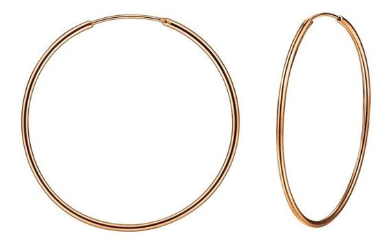 Arracadas De 50mm De Plata .925 Con Baño De Oro Rosa