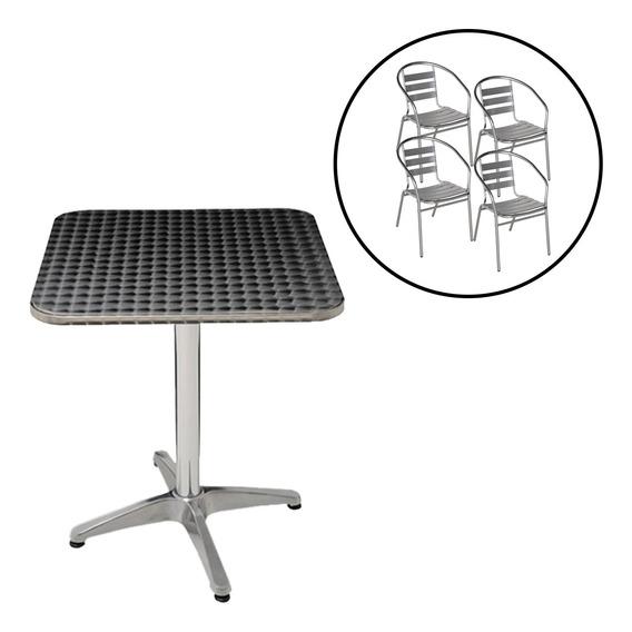 Conjunto Mesa Com 4 Cadeiras Em Alumínio Para Jardim Mor
