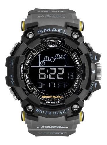Relógio Smael 1802 Cinza Militar Tático Top Prova D