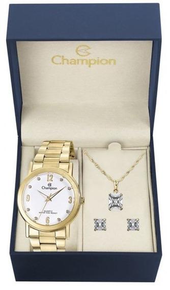 Relógio Feminino Champion Dourado Cn29025w Com Kit Semijoias