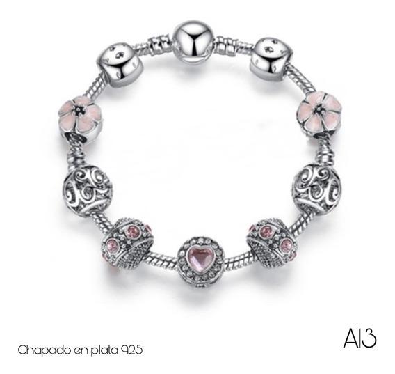 Pulsera Tipo Pandora Charms Rosas Envío Gratuito Niña-adulto