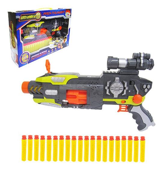 Pistola Lança Dardo Espuma Com 18 Dardo Mira Automática