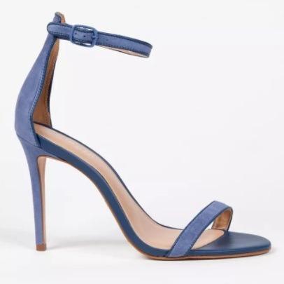 Sandália Marca Salto Alto Fino Azul Couro Luxo Agulha Balada