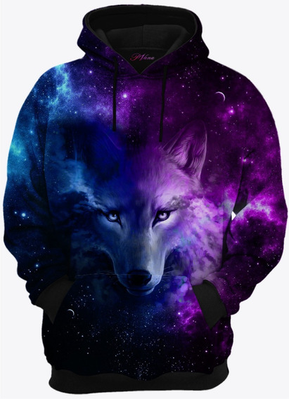 Moletom Com Capuz Lobo Galaxia