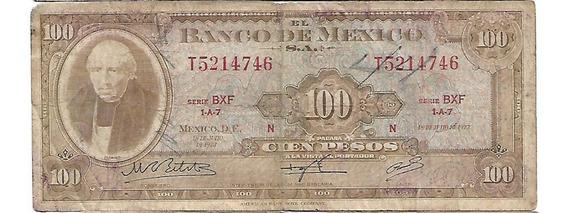 Billete De 100 Pesos Mexicanos De 1973 Serie Bxf 1-a-7