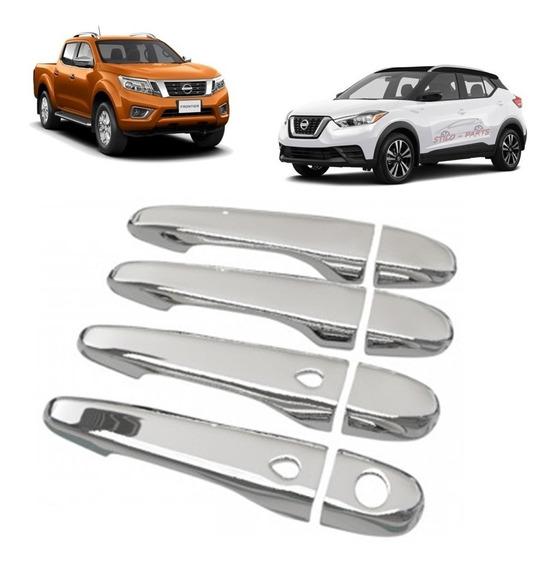Kit 4 Maçaneta Capa 100% Cromada Com Abertura Automática Keeles - Novo New Nissan Frontier - Kicks - 2017 2018 2019 2020