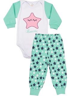 Roupa Bebê Menina Conjunto Body E Calça Ribana Longo Inverno
