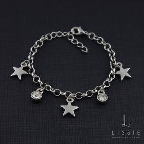 Pulseira Feminina Corrente Pingente Estrela E Ponto De Luz