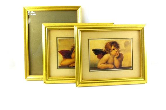 Kit 3 Porta Retratos Dourados Madeira Fotos Anjinhos B6086