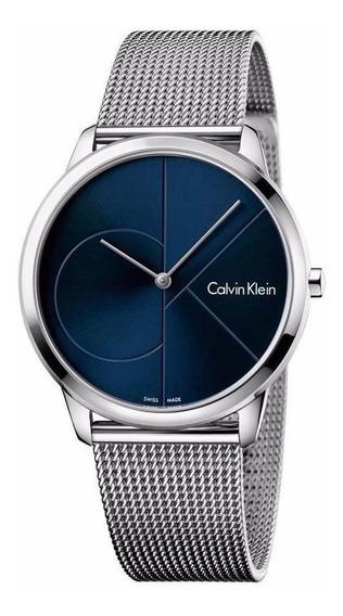 Reloj Calvin Klein K3m2112n Minimal Plateado/azul Caballero*