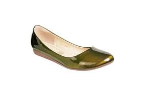 Zapato Mejillitas Flats, Piso Color Verde Olivo Charol