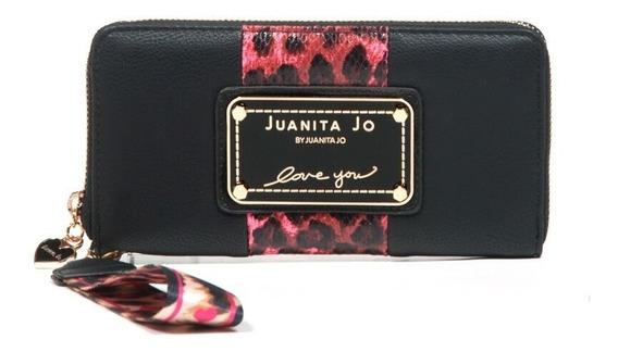 Billetera Juanita Jo Outside ( Negra-rosa - 30053 )