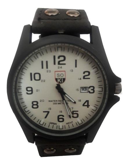 Relógios Masculinos Soki Preto Pulseira De Couro Barrato