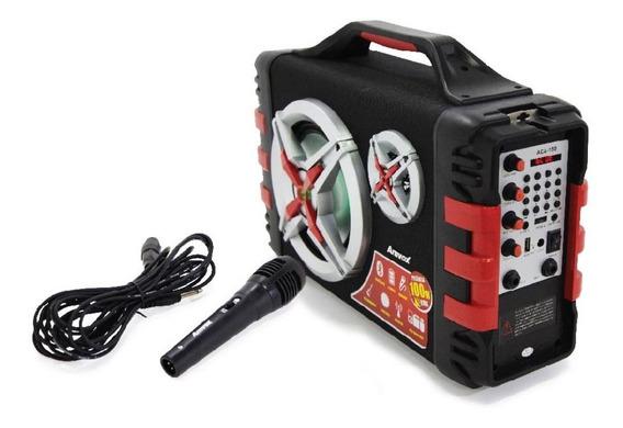 Som Rádio Fm Caixa Amplificada Portátil Mp3 Energia Karaokê