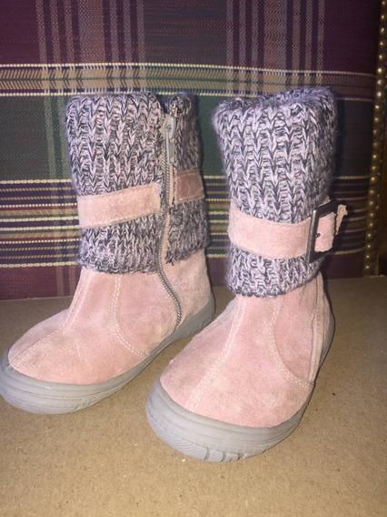 Botas Para Nena En Gamuza Con Caña Tejida, Color Rosa, N22