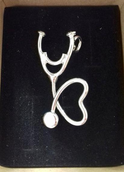 Dije Pin Estetoscopio Corazon Plata .925 Medicina