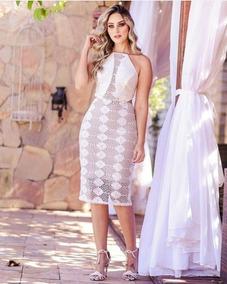 Vestido Midi Festa Casamento Madrinha Formatura Chic Renda
