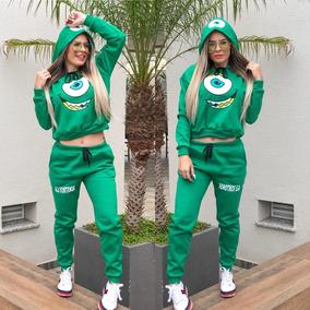 Conjunto Moletom Monstros S.a Feminino Moda Blogueira Frio