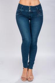 Pantalon Mujer Casual Mezclilla Pretina Ancha Azul V81100