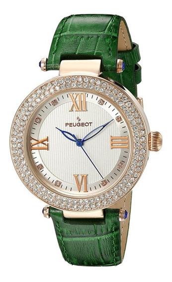 Reloj Peugeot Dress Acero Piel Verde 40mm Mujer 3046gr