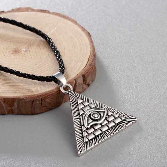 Colar Pirâmede Egípcio Olho Hórus Iluminati Cordão