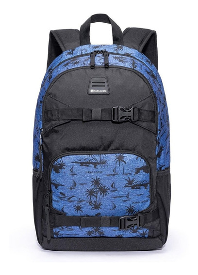 Mochila Escolar Hang Loose Azul/preto Hawaii-hlc1314
