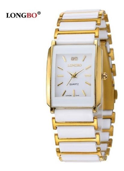 Relógio Feminino Longbo Branco Dourado Cerâmico Modelo 8145