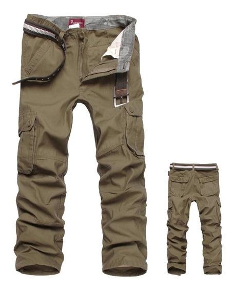 Pantalones Cargo Hombres Trabajo Multibolsillos