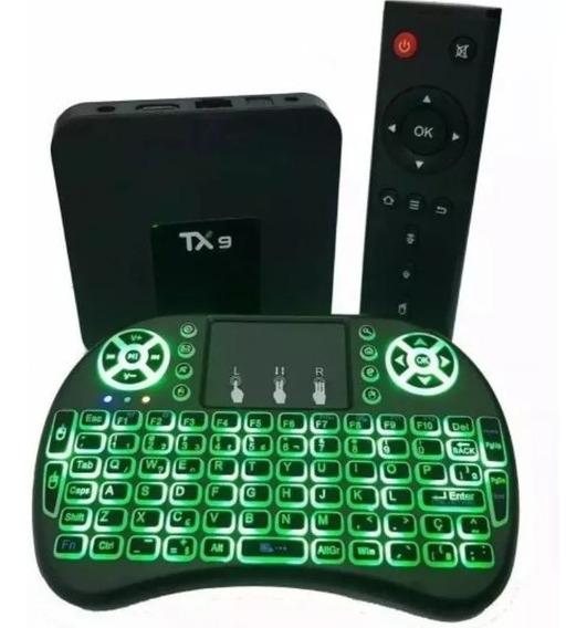 Tv Box Tx9 Conversor Transforma Tv Em Smart + Teclado Led