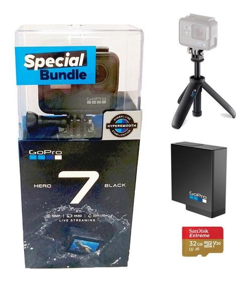 Câmera Gopro 7black Special Bundle+cartão 32g+bateria+shorty