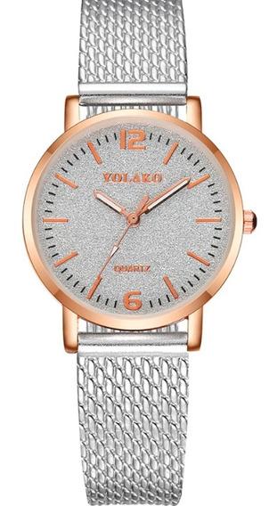 Relógio Feminino Prata Com Strass Ótima Qualidade
