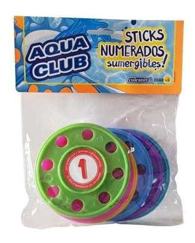 Imagen 1 de 5 de Discos Numerados Sumergibles Para Jugar 10cm Aqua Club 8923