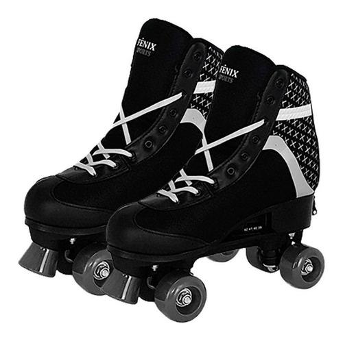 Imagem 1 de 6 de Patins 4 Rodas Retrô Clássico Preto Roller Skate Ajustavel