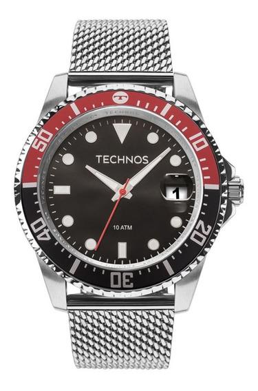 Relógio Masculino Technos Prata Skymaster Caixa Preta