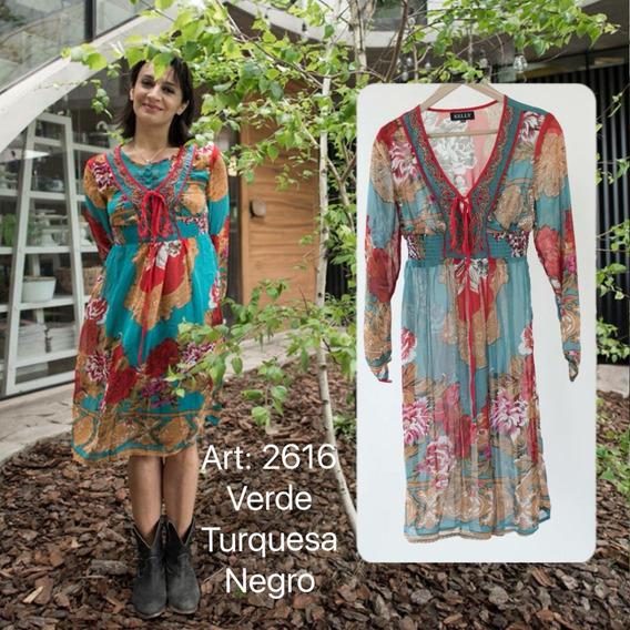 Vestido De Gasa Corto Hippie Style Escote Bordado 2616