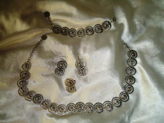 Raro Conj.turcocolar/brincos/anel/pulseira Cobre/prata,déc70