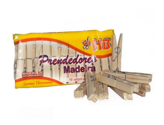 Prendedor De Roupa Madeira Hb Tamanho Tradicional 100 Duzias