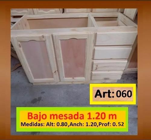Bajo Mesada De 1.20 M De Madera De Pino Macizo
