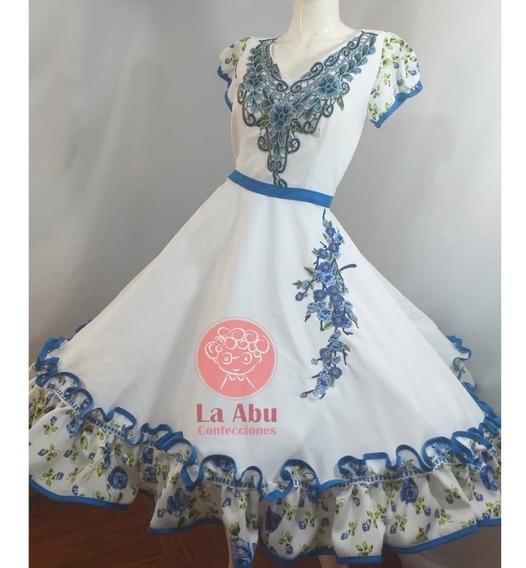 Vestido Huasa China Blanca Con Aplicaciones Entrega Inm
