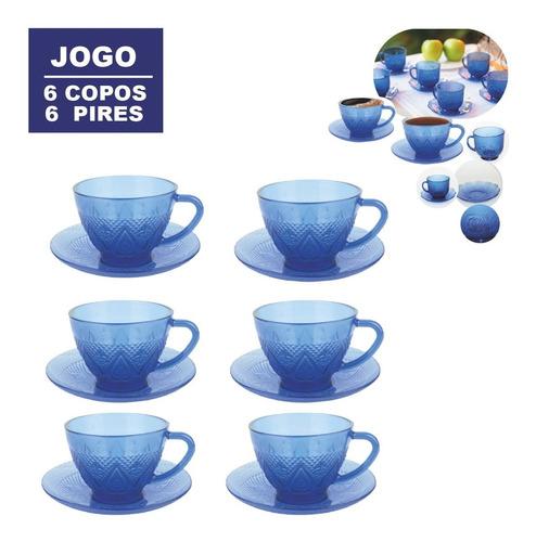 Conjunto De Xícaras Chá Café Com Pires Azul 200ml 12peças