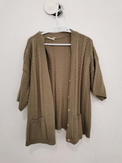Vintage Sweater Abrigo Tejido A Mano Color Caqui Largo